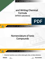 Naming and Writing Chemical Formula (MT633 Lab)
