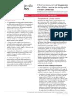 FS2S Cord Blood Transplantation Factsheet Spanish 9 16