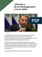 Proponen reformar la Constitución en Nicaragua para que Ortega regrese