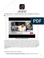 The Big Picture – Gender Equality Versus Religious Practices