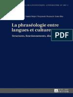 Ed- La phraséologie entre langues et cultures. Structures, fonctionnements, discours, Peter Lang.pdf