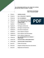 Reglamento del Organismo especial del fondo de vivienda