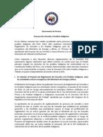 Documento sobre el proceso de consulta a pueblos indígenas
