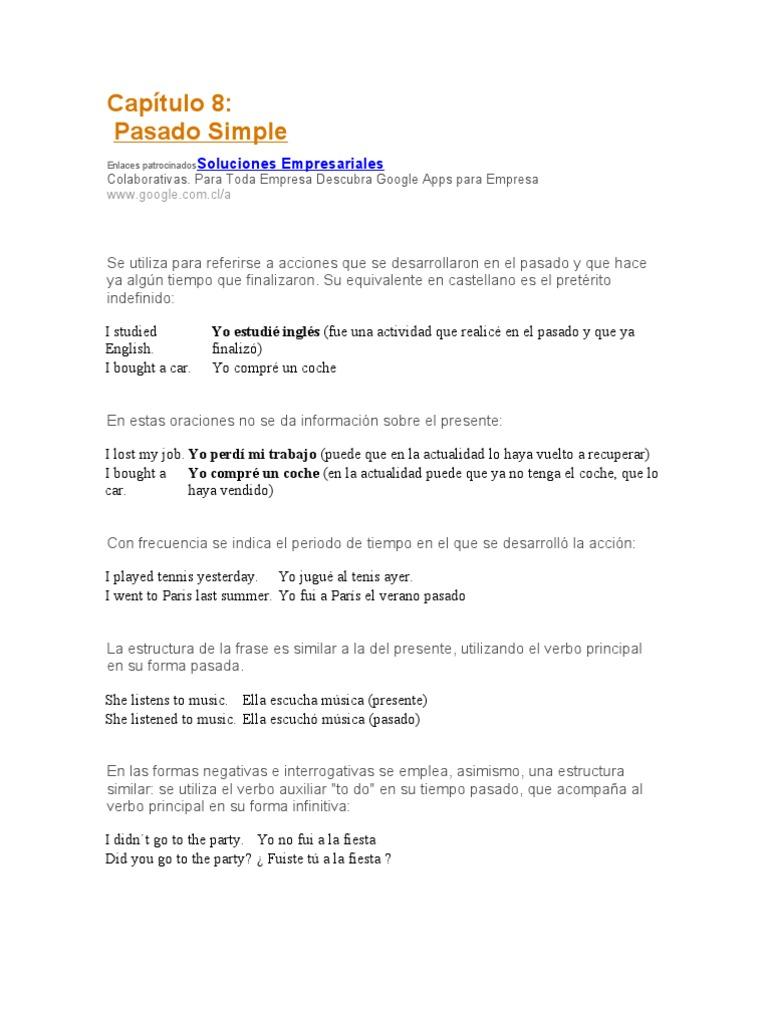 Capítulo 8 Pasado Simple Verb Linguistic Morphology