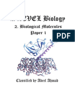 AS Biology  Biological Molecules Classified Questions Paper 1