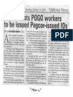 Manila Bulletin, Oct. 14, 2019, Solon wants POGO workers to be issued Pagcor-issued IDs.pdf