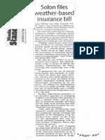Manila Standard, Oct. 14, 2019, Solon files weather-based insurance bill.pdf