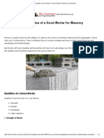 Qualities and Properties of a Good Mortar for Masonry Construction