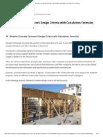 Wooden Formwork Design Criteria with Calculation Formulas for Concrete