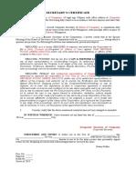 Template Secretarys Certificate