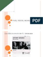 VOIX TEXTE MUSIQUE Aperghis Cage Récitation 10