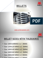 Billet Sizes with Tolerance