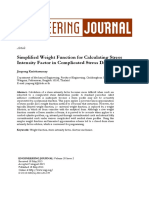 Simplified Weight Function for Calculating Stress Intensity Factor in Complicated Stress Distributions Jirapong Kasivitamnuay