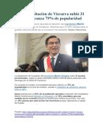 Ipsos Aprobación de Vizcarra Subió 31 Puntos y Alcanza 79 de Popularidad