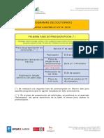 1ª Fase Calendario Preinscripcion 2019-20 Doctorado