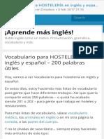vocbulario hosteleria