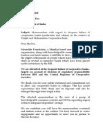 RBI Memorandum on Coop Banks