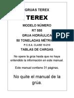 Tabla de Carga Terex RT555