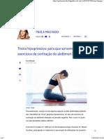 SAÚDE - Treino Hipopressivo - Para Que Servem Os Exercícios de Contração Do Abdômen