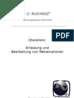 Checkliste Erfassung Bearbeitung Reklamationen