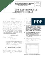 Informe 5 Identificacion de Sistemas Con Matlab