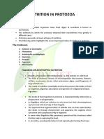nutrition in protozoa