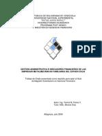 Gestión Administrativa e Indicadores Financieros de Las Empresas Metalmecánicas