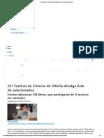24ª Festival de Cinema de Vitória Divulga Lista de Selecionados _ a Gazeta
