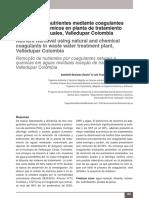 remoción de nutrientes mediante coagulantes naturales y quimicos