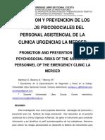 Promocion y Prevencion de Los Riesgos Psicosociales Del Personal Asistencial de La Clinica Urgencias La Merced