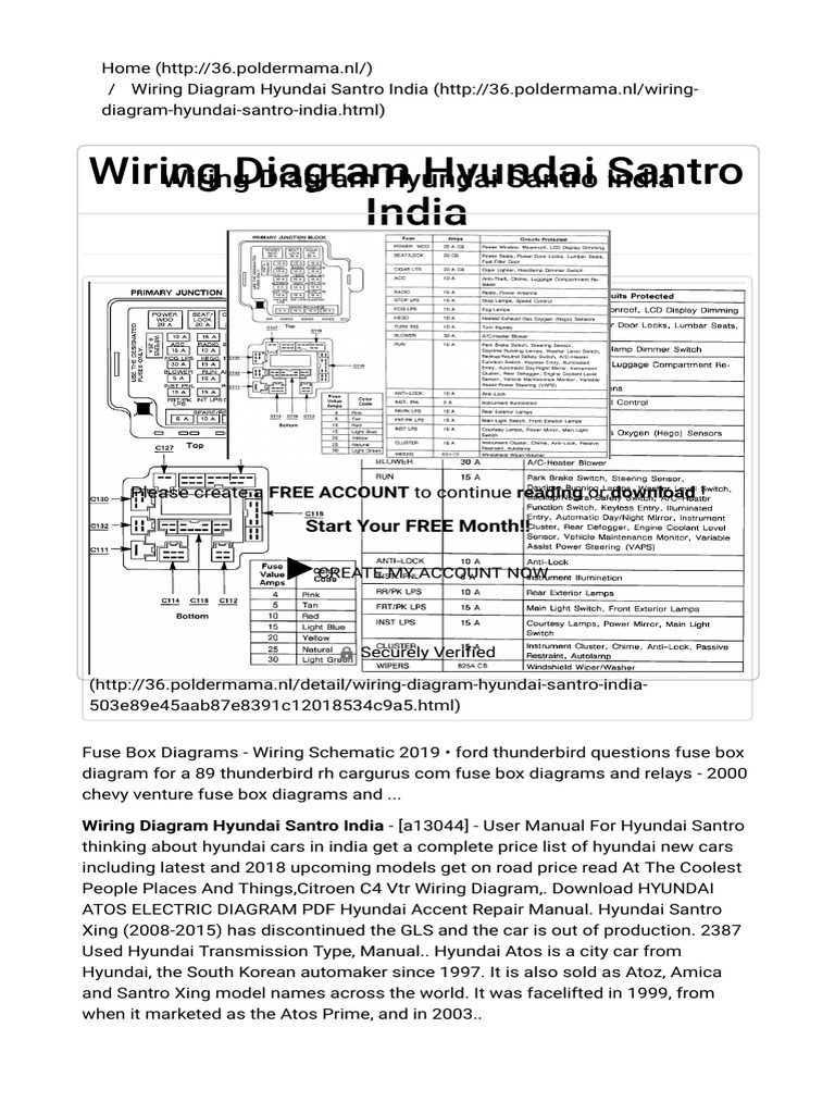 Wiring Diagram Hyundai Santro India