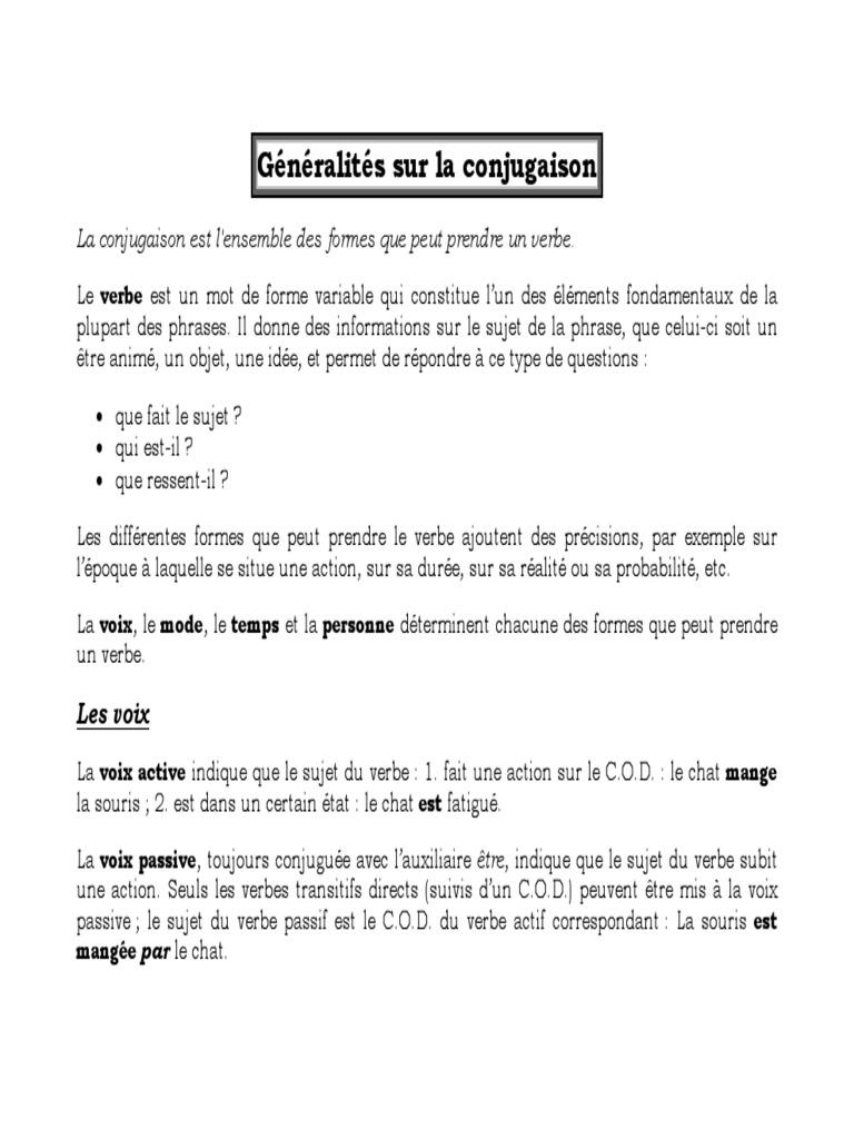 Grammaire La Conjugaison Pdf Verbe Sujet Grammaire