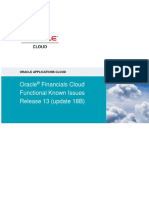 Oracle Financials Cloud Functional Known Issues - Release 13 Update 18B