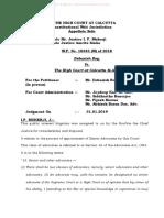 Debasish Roy v High Court of Calcutta Jan 2019 Cal HC