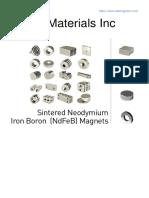 Sintered Neodymium Iron Boron (NdFeB) Magnets Grades Data
