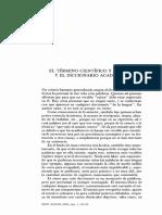 El termino cientifico y el diccionario academico