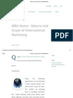 Nature and Scope of International Marketing