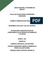 Extraccion e Identificacion de Carbohidratos de Rreserva en Animales y Plantas.