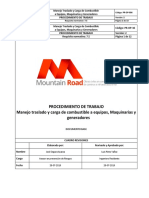 Procedimiento Manejo, Traslado y Carga de Combustible Mountain Road Spa