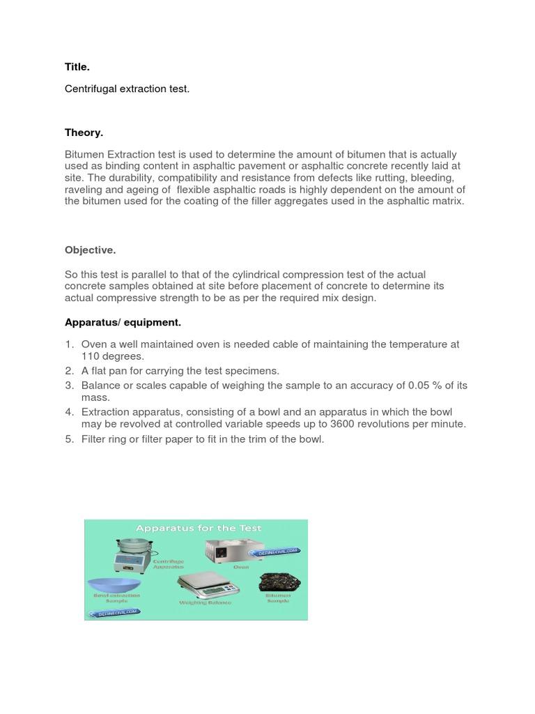 Centrifugal Extraction Test Title Asphalt Centrifuge