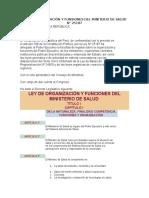 LEY DE ORGANIZACIÓN Y FUNSIONES DEL MINITERIO DE SALUD N°251