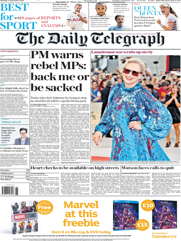 The Daily Telegraph 02 09 2019 Conservative Party Uk Brexit