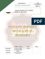 Seleccion, Evaluacion y Reevaluacion de Proveedores