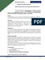Especificaciones Tecnicas- Sap