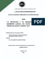 La Motivación y Su Incidencia en El Desempeño Laboral Del -Banco Interbank, Tiendas en Huacho, Periodo 2014