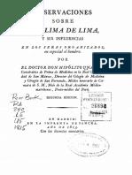 Hipólito Unanue - Observaciones Sobre El Clima de Lima y Sus Influencias Sobre Los Seres Organizados, En Especial El Hombre - Juan B. Lastres - Hipólito Unanue y El Clima de Lima