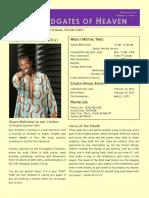 Floodgates of Heaven Newsletter (Feb 2013)