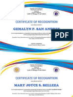 Certificate of Recognition Best Classroom