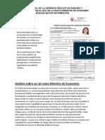 Desde El Rol de La Gerencia Realice Un Análisis y Comentario Sobre El Rol de La Nueva Ministra de Economía