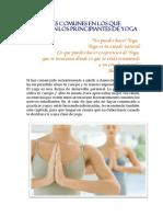 5 Errores Comunes en Los Que Incurren Los Principiantes de Yoga